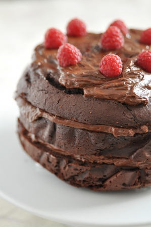 Chocolate Cake with raspberries photo