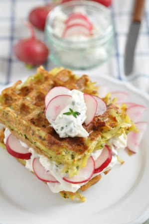 Potato Waffle with cream cheese and radish Stock Photo