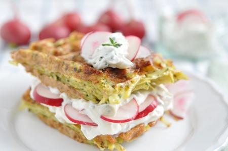Potato Waffle with cream cheese and radish Stock Photo
