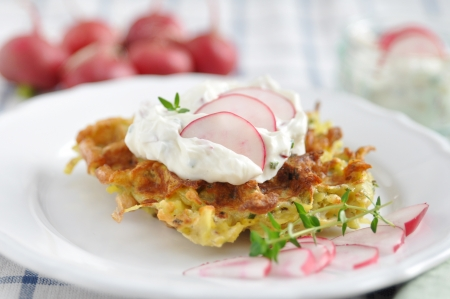 Potato Waffle with cream cheese and radish photo