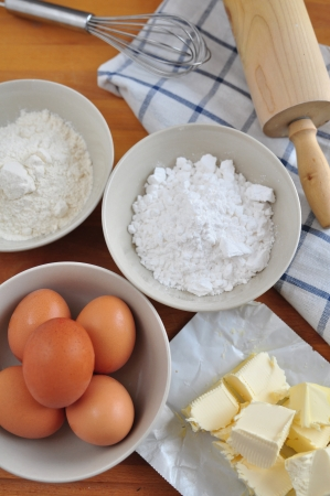 Ingredients for a baking a cake photo