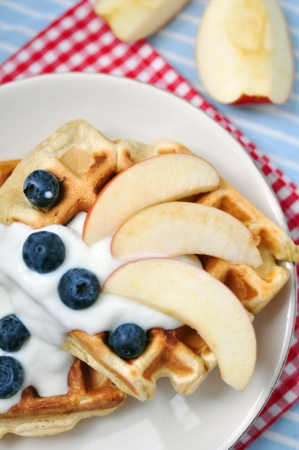 Fresh Waffles with blueberries Stock Photo - 19594093