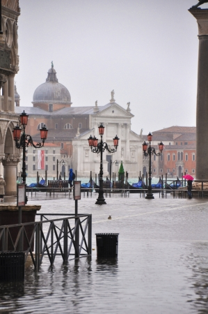 Flooded Piazza San Marco in Venice, Italy  photo