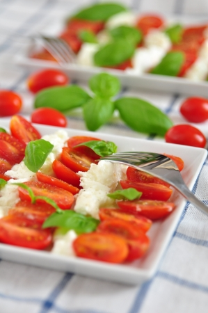 Caprese Salad with tomatoes, mozzarella and basil photo
