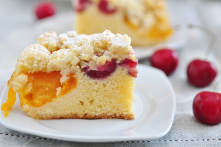 Apricot and Cherry Streusel Cake photo