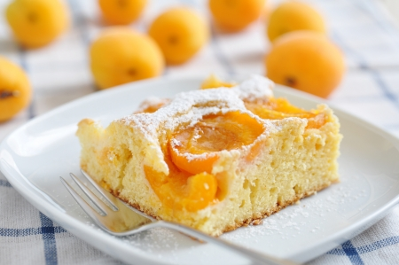 Home made german apricot cake photo