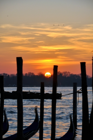 sunrise at the lagoon in Venice with view on the island San Giorgio Maggiore  photo