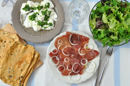 Italian Table Setting for a family lunch photo