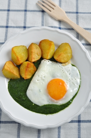 Spinach with egg and potatoes photo