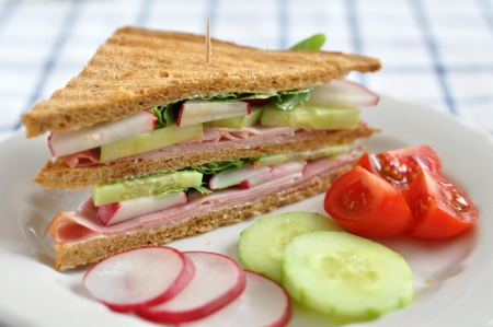 Healthy whole grain Sandwich with ham photo