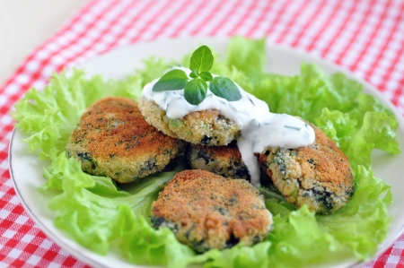 meatless: Vegetable Patties with Swiss Chard Stock Photo