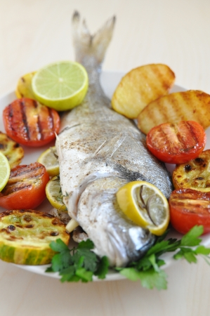 cichlids: Grilled Gilthead Seabream with Vegetables