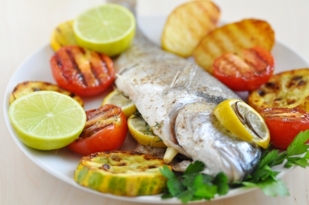 Grilled Gilthead Seabream with Vegetables photo