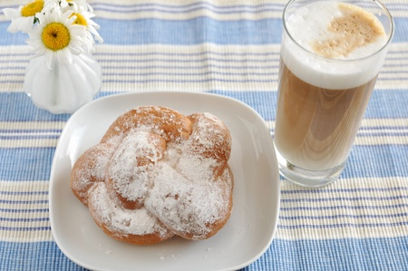 Sweet Pastry with coffee for breakfast photo