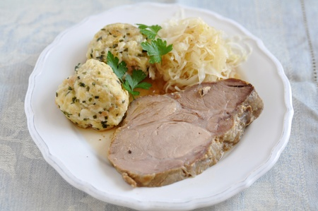 Roasted Pork with dumplings and sauerkraut Reklamní fotografie