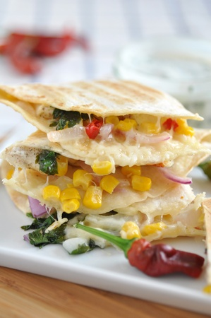 Quesadilla with chicken, pepper and corn photo