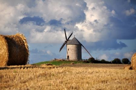 Le Moulin de Moidre, Old windmill near Mont-Saint-Michel in France  photo