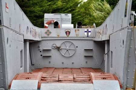 world war two: American World War Two military landing craft  Landing Craft, Vehicle, Personnel  LCVP   at the Le Grand Bunker museum, Ouistreham, department Basse-Normandie, France  Editorial