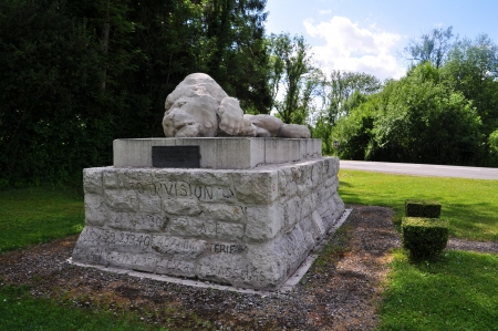 furthest: Monument of a dying lion nearthe village Fleury, marking the furthest advance of the German army at the Verdun battlefield  department Meuse, France