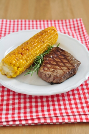 Grilled Steak with corn photo