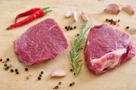 Raw Steak on a chopping board photo