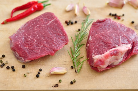 Raw Steak on a chopping board photo