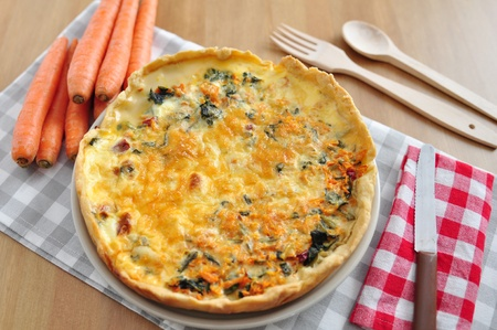 Carrot Spinach Quiche Stock Photo - 21957833
