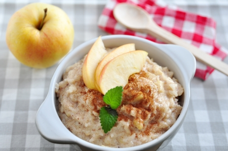Milk Rice Pudding with apple and cinnamon photo