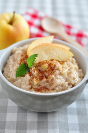 Milk Rice Pudding with apple and cinnamon