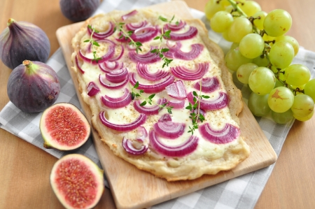 French Flammkuchen with red onions photo