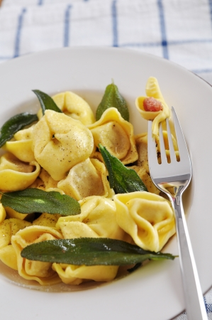 Tortilla Pasta with butter and sage photo