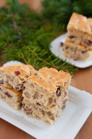 blondie: Christmas Blondies with cranberries and walnuts Stock Photo