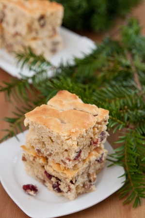 Christmas Blondies with cranberries and walnuts photo