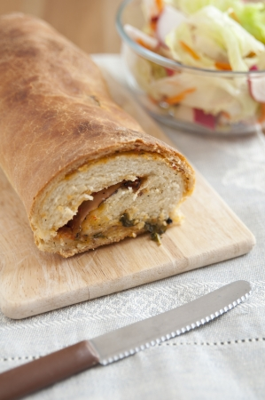 Italian Stromboli bread filled with ham and cheese