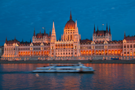 The Parliament in Budapest in the evening