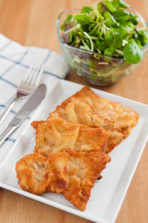 Wiener Schnitzel with green salad photo