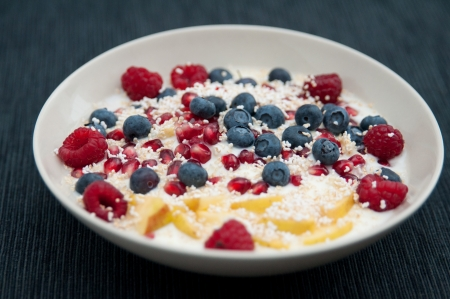 Yoghurt with fresh berries and amaranth