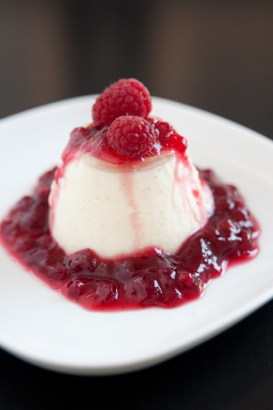 Panna Cotta with raspberries photo