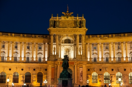 Vienna Hofburg Imperial Palace at night, Austria