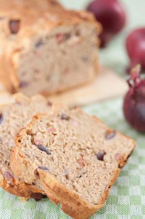 Whole Grain Bread with red onion and bacon photo