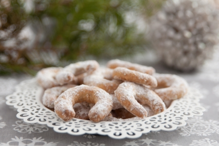 German Vanille Kipferl Christmas Cookies Stock Photo - 24592436