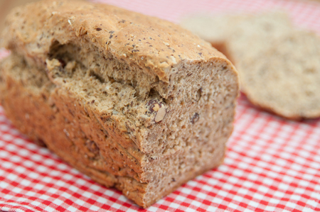 Home baked hazelnut bread photo