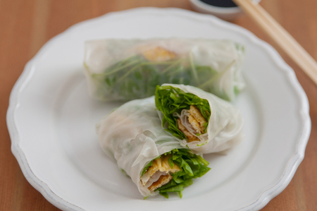 vietnamese spring rolls with arugula and egg  photo