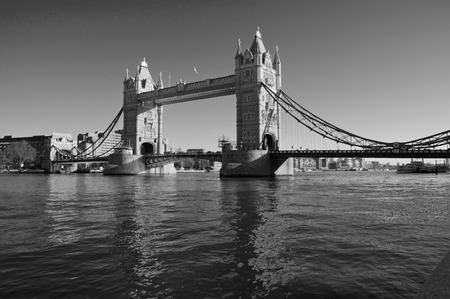 Tower Bridge in London in black and white photo
