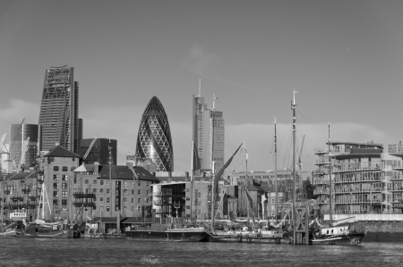 Skyline in London in black and white