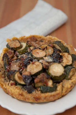 Quinoa Crust Quiche with zucchini and eggplant photo