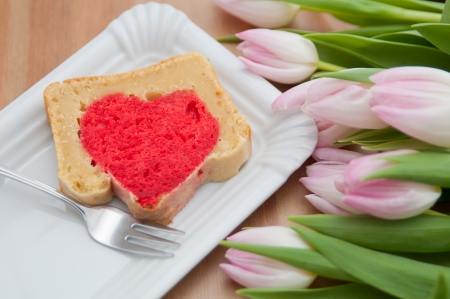 Heart Cake with tulips photo