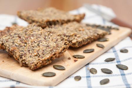 Home made Crispbread with pumpkin seeds