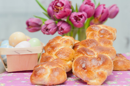 Sweet braided easter Bread Stock Photo