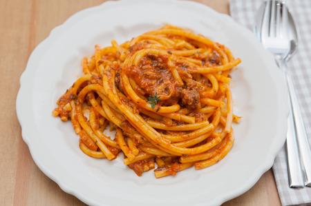 Italian Pasta with tomato sauce photo